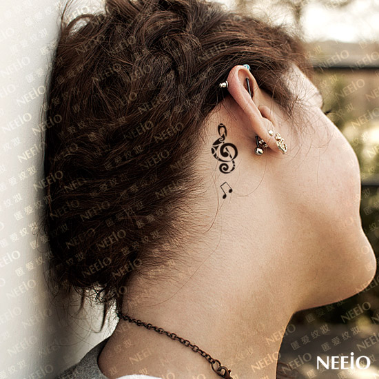 Mind Blowing Music Note Feminine Tattoo Behind Ear For Girls
