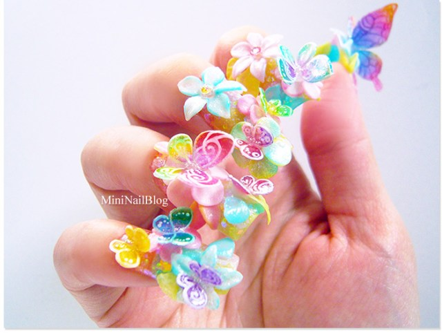 Most Amazing 3D Butterflies Nail Art With Pink Color And Butterflies