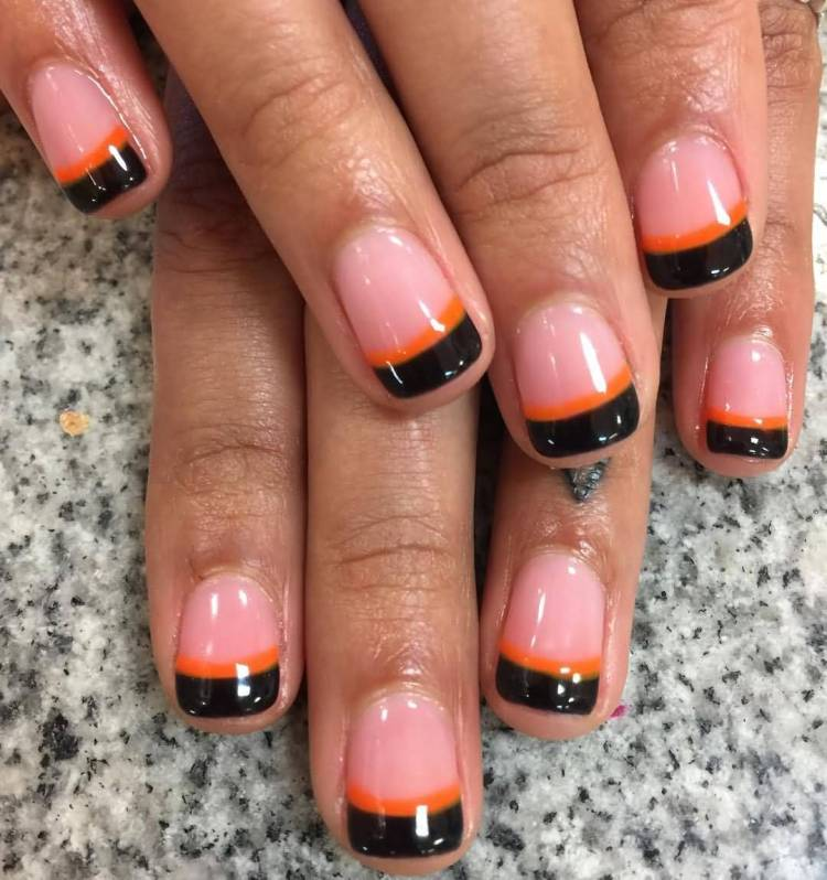 Most Amazing Black French Tip Nails With Orange Lining
