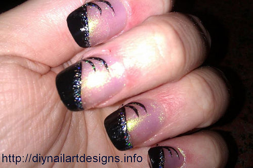 Most Amazing Black French Tip Nails With Sparkling Ink