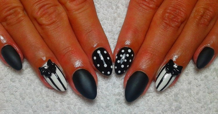 Most Amazing White And Black Nail Art With Full Black And Butterfly