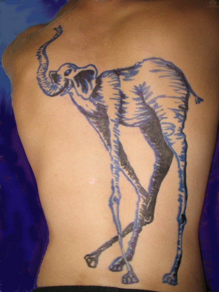 Most Beautiful Dali Elephant Tattoo On Back For Boys