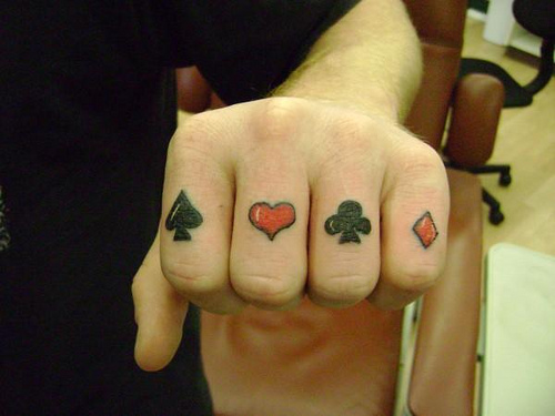 Most Beautiful Gambling Symbols Tattoo On Fingers For Boys