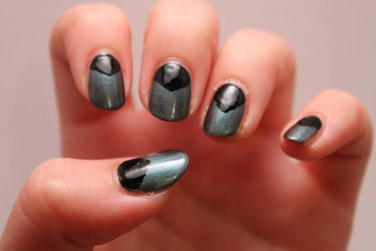 Most Coolest Black Half Moon Nail With Silver Paint