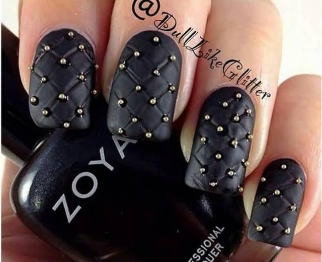 Most Cutest Black Matte Nails With Crystal Design Black Matte Nails