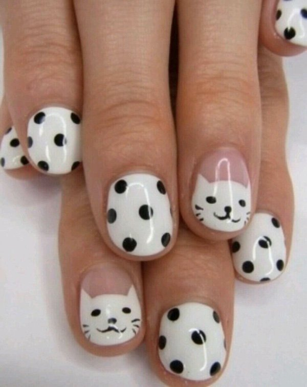 Most Cutest Kitty And Football Black And White Nail Art