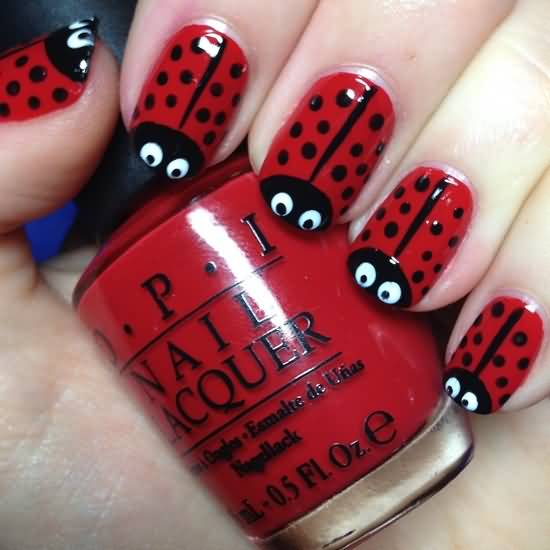 Most Cutest Red And Black Nails With Insect Design
