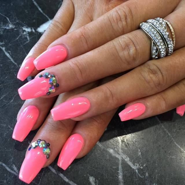 Most Dashing Full Pink Nail Design With Crystal Pink Acrylic Nail Design