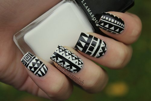 Most Fantastic Black And White Nail Art Design On Nails