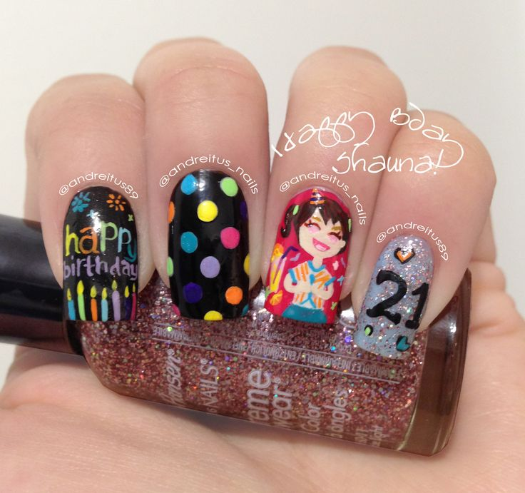 Most Incredible Black And Colorful Design Birthday Nails
