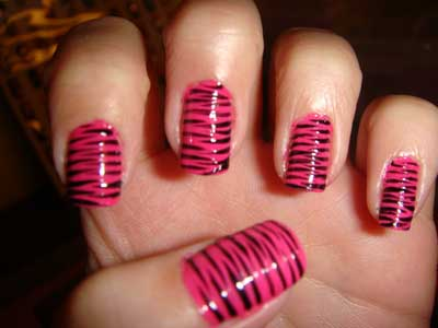 Most Incredible Black And Pink Nails With Tiger Print