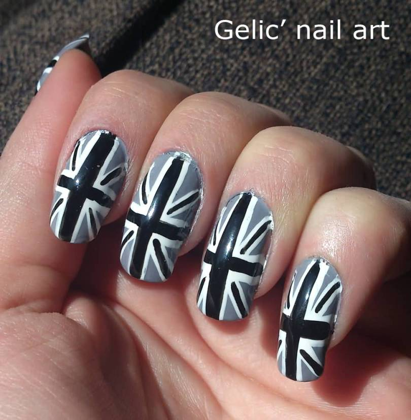 Most Phenomenal Black And Grey Nails With flag Design