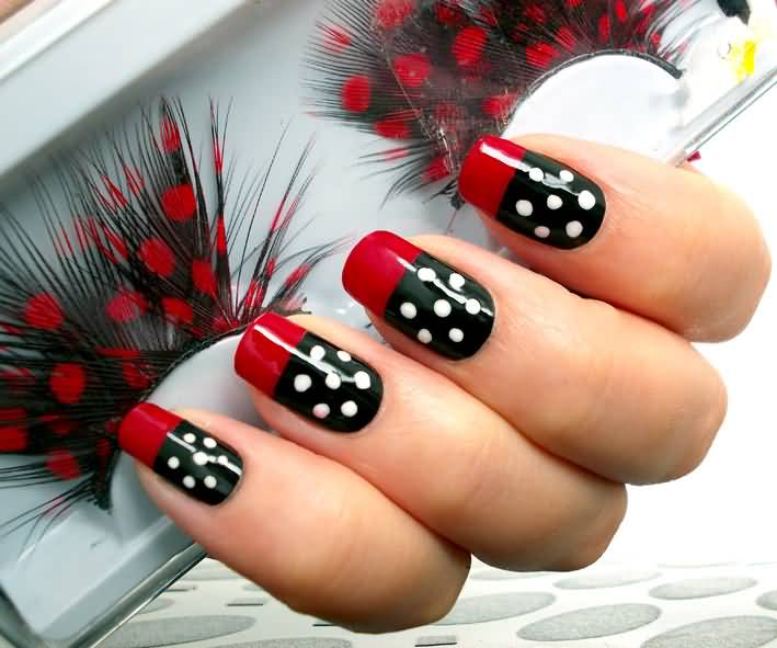 Most Phenomenal Red And Black Nails With Red Color Tip