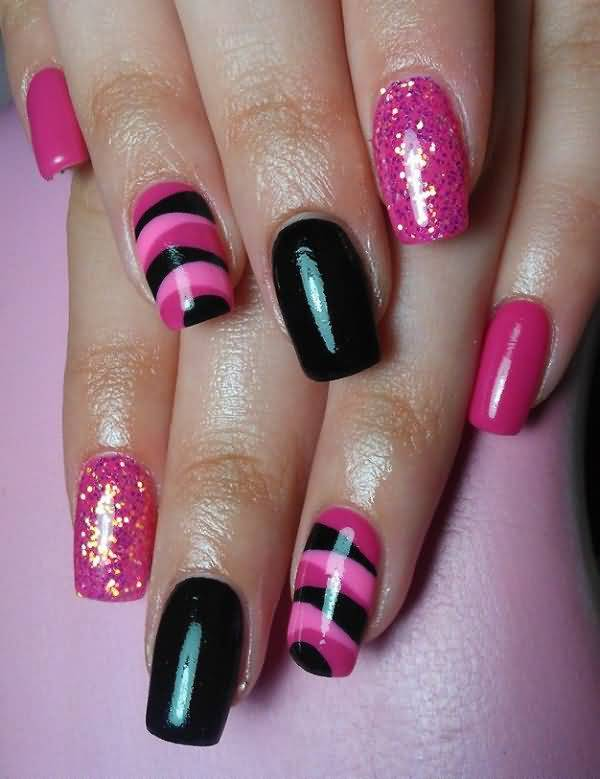 Most Stunning Black And Pink Nails With Sparkling Color Paint