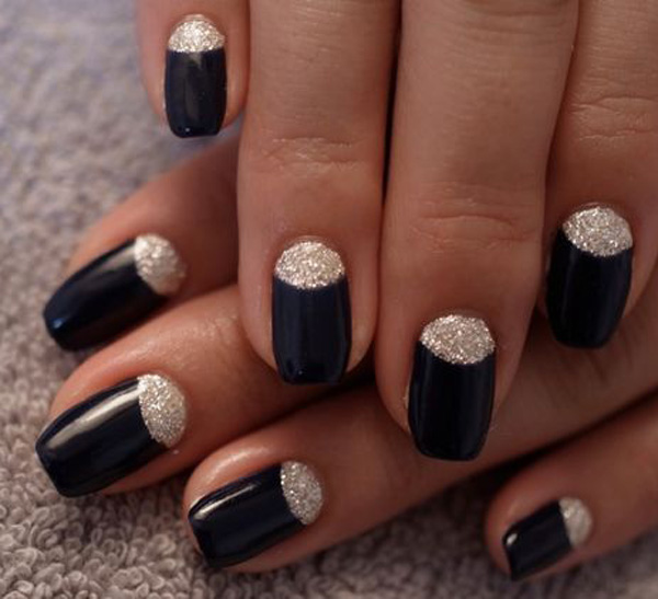 Most Tremendous Black Half Moon Nail With Sparkling Nails Paint