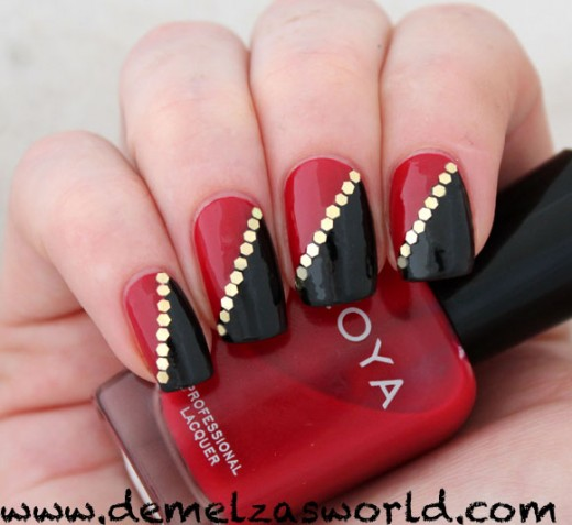 Most Tremendous Red And Black Nails With White Color Dot Design