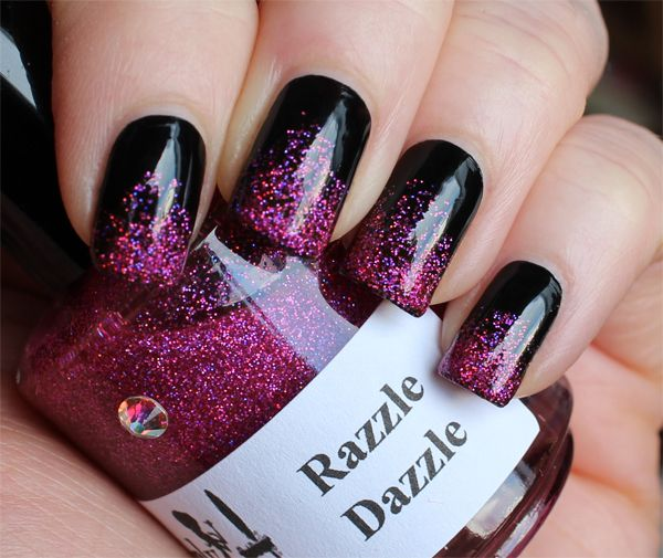 Most Ultimate Black And Pink Nails With Sparkling Paint