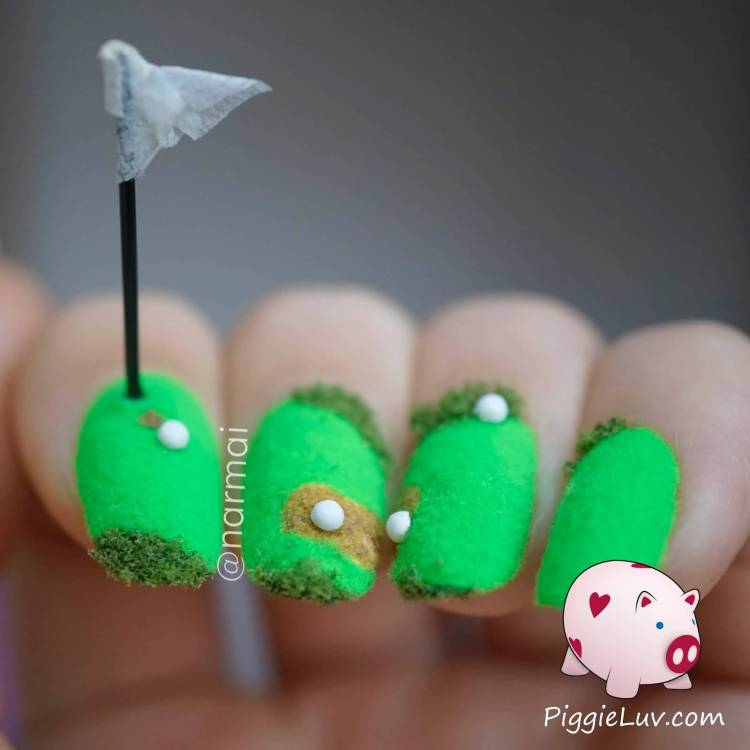 Most Unique Golf Course With Green Carpet 3D Nail Art