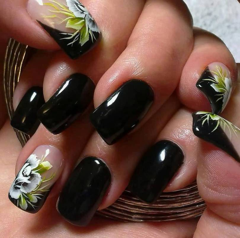 Most Wonderful Black With Flower Black Acrylic Nail Art
