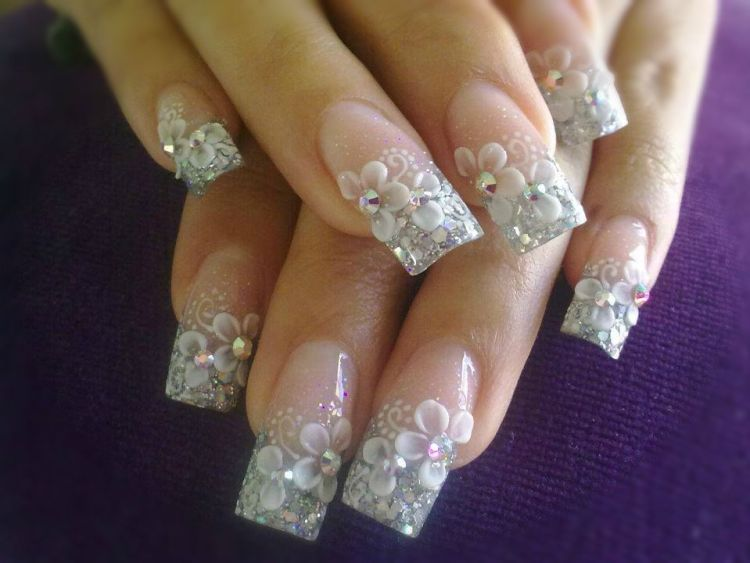 Most Wonderful white color 3D Acrylic Nail Art