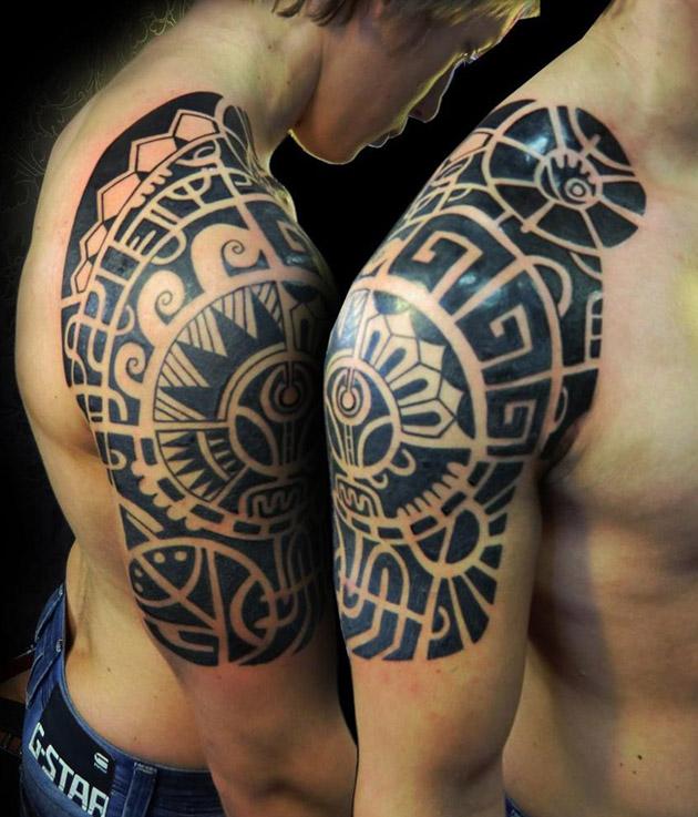 Motivational Aztec Half Sleeve Tattoo For Boys