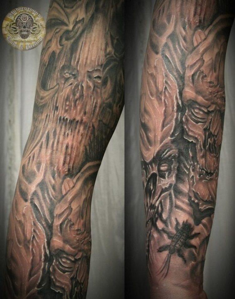 Motivational Biomech Skull Horror Tattoo Design For Boys