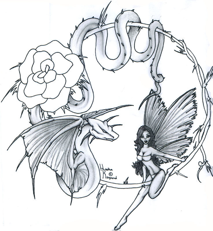 Motivational Fairy Rose Dragon n Snake Tattoo Design For Girls
