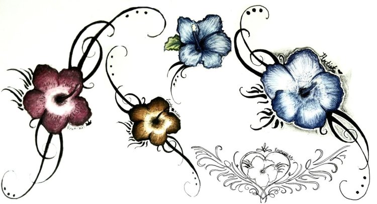 Motivational Hibiscus Tattoo Design Collection For Girls