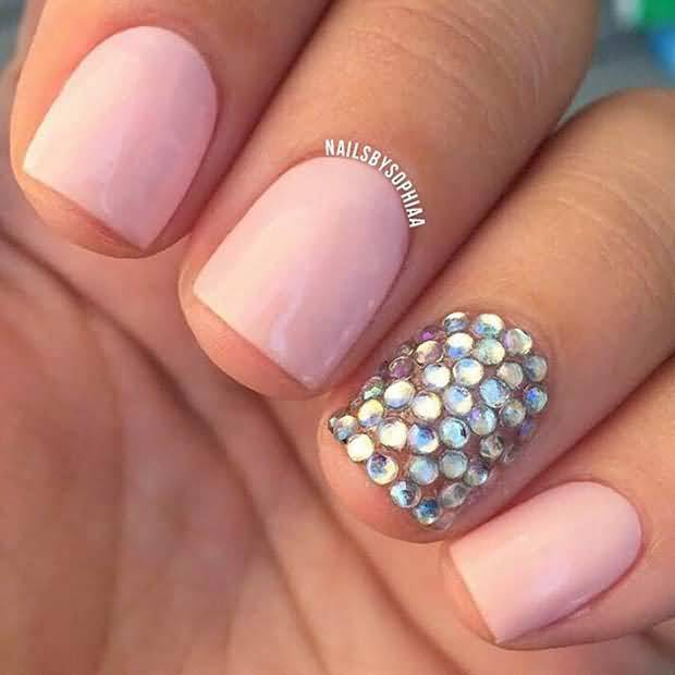 Nice Baby Pink And Rhinestones Accent Nail Art