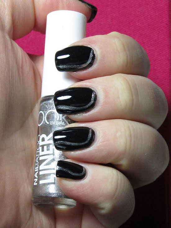 Nice Black Nail Art Design With Shining Nail Paint