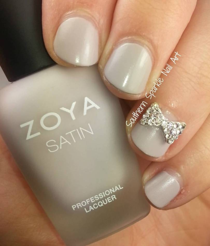 Nice Bow Tie 3D In Silver Color Nail Accent Nail Art