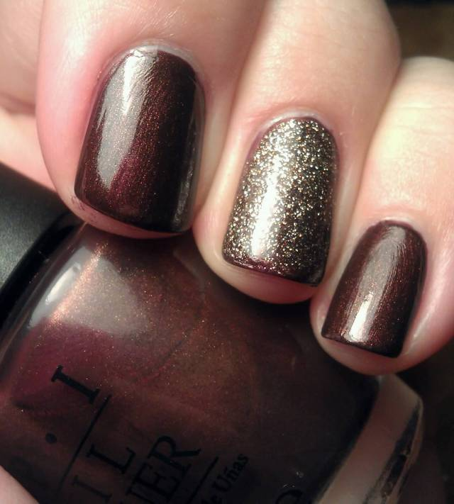 Nice Choclate Glitter Accent Nail Art