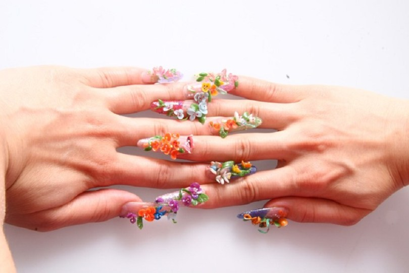 Nice Colorful Flowers With Leaves 3D Nail Art