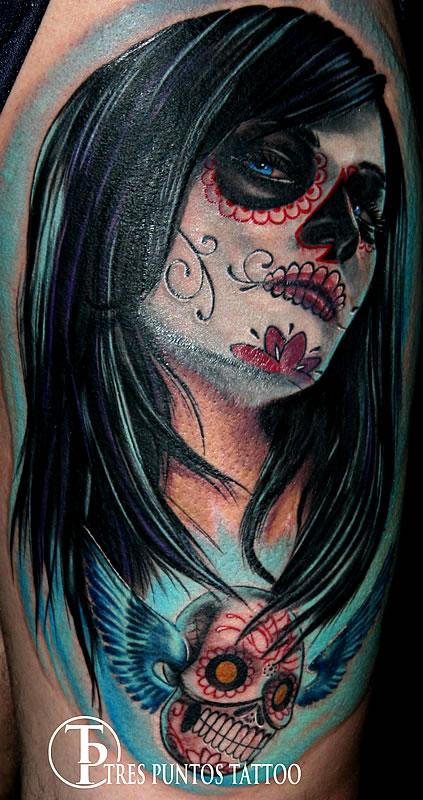 Nice Dia De Los Muertos Tattoo Design For Boys