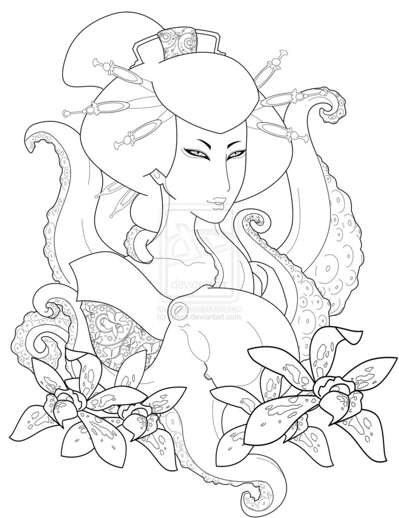 Nice Geisha n Flowers Tattoo Design For Girls