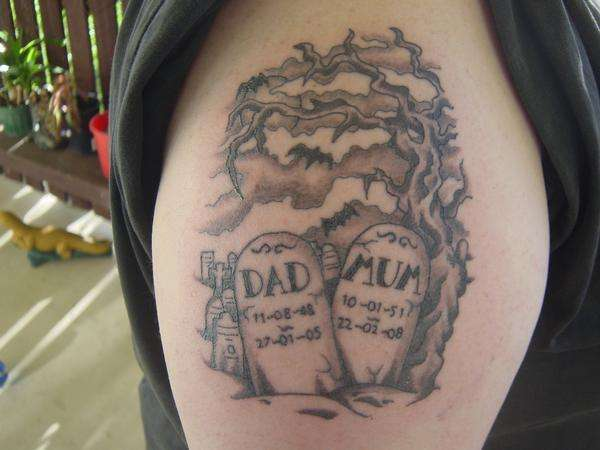 Nice Graveyard Scene Tattoo On Right Shoulder For Boys