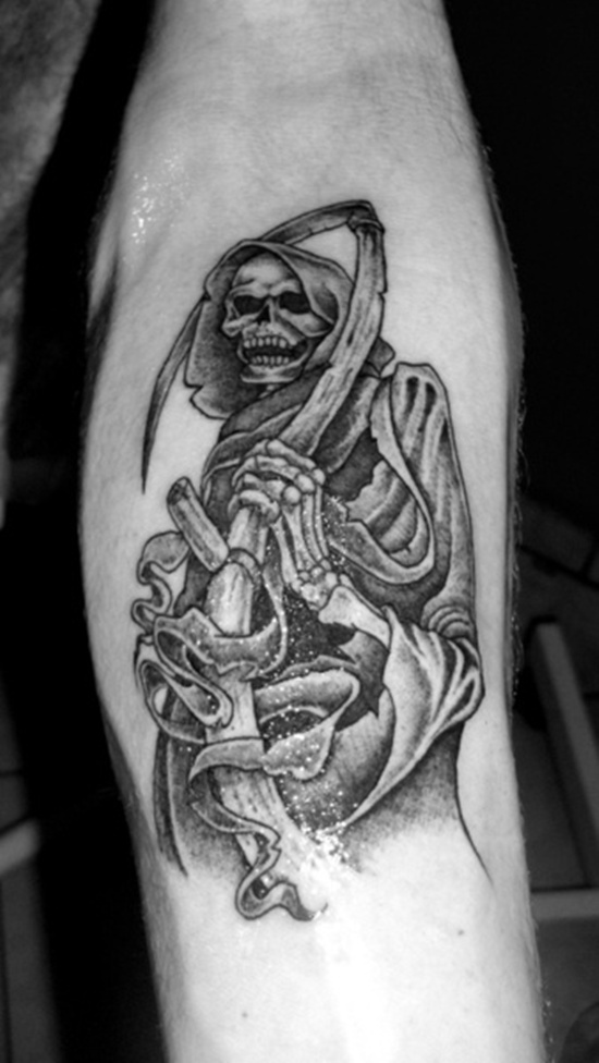 Nice Grim Reaper Tattoo On Arm For Boys