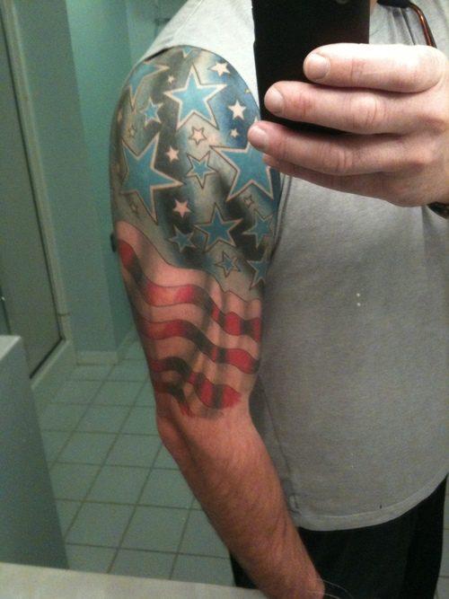 Nice Half Sleeve Flag Tattoo For Boys