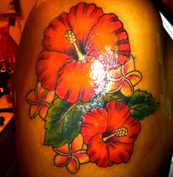 Nice Hibiscus Flower Tattoo Design For Boys