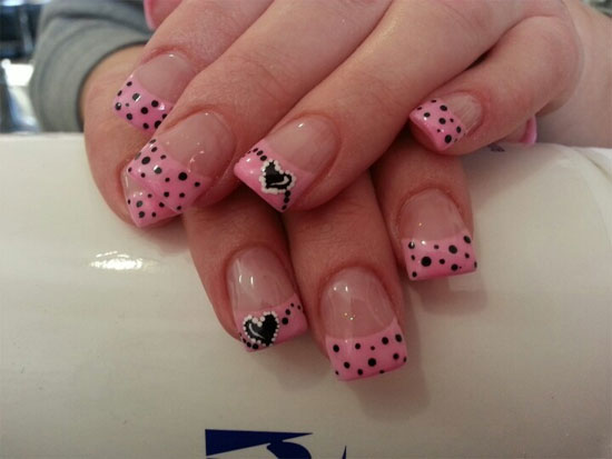 Nice Pink Dotes With With Black Heart Design Pink Acrylic Nail Art Design