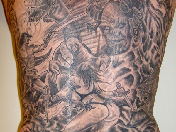 Nice Scary Full Body Tattoo Design For Boys