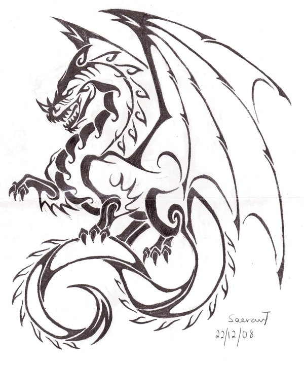 Nice Tribal Dragon Tattoo Sketch For Boys