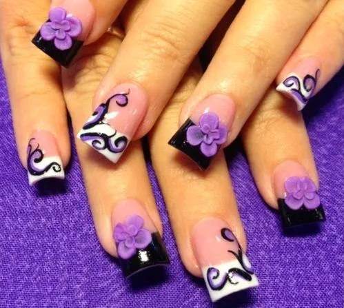 Nice Violet Color Paint With Flower 3D Rose Flower Nail Art