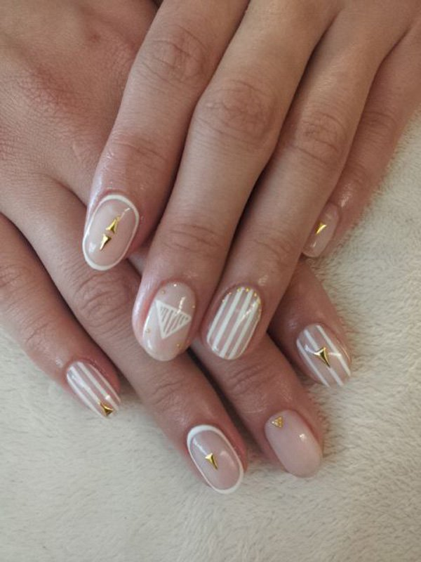 Nice White Paint Designs In Acrylic Short Nail Design