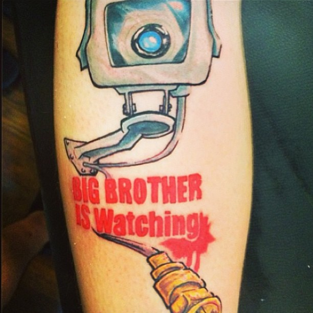 Out Standing Big Brother Is Watching Funny Camera Color Tattoo For Boys