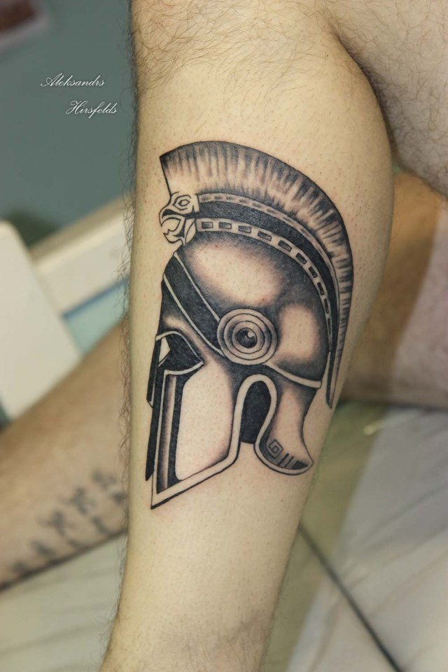 Out Standing Helmet Tattoo On Leg For Boys