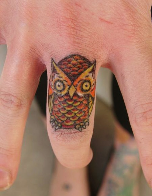 Out Standing Owl Finger Tattoo Trend For Girls