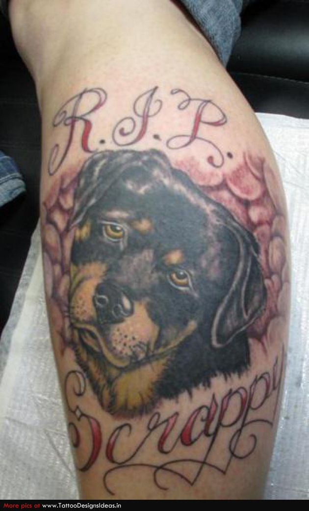 Out Standing Sad Dog Tattoo On Leg For Girls