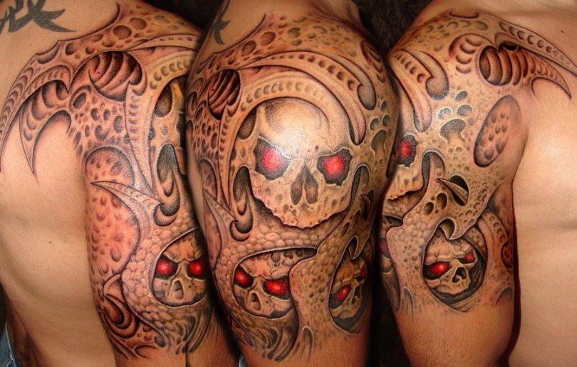 Passionate Bio Skull Horror Tattoo Design On Shoulder For Boys