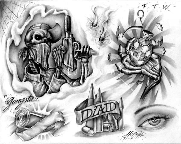 Passionate Gangsta Tattoo Set For Boys